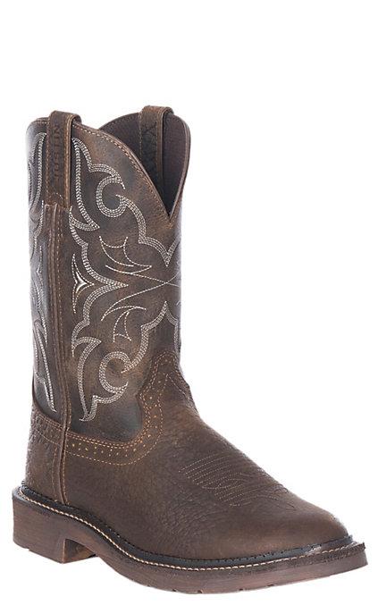 e7a453e63fb Justin Amarillo Men's Chocolate and Tan Round Soft Toe Work Boots