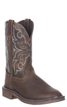Justin Men's Amarillo Stampede Chocolate and Tan Round Toe Work Boot