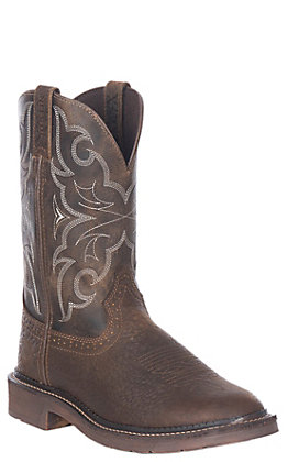 Justin Men's Amarillo Stampede Chocolate and Tan Round Steel Toe Work Boot