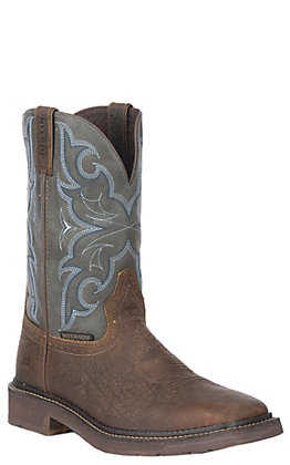 Justin Men's Amarillo Stampede Chocolate and Slate Waterproof Square Toe Work Boot