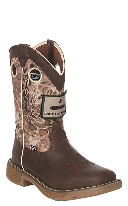 7492df7c6a9 Justin Stampede Rush Men's Grizzly Brown and Camo Waterproof Square Steel  Toe Work Boots