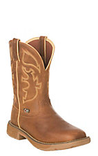 Justin Men's Stampede Rustic Rush Collection Tan Waterproof Steel Toe Work Boot
