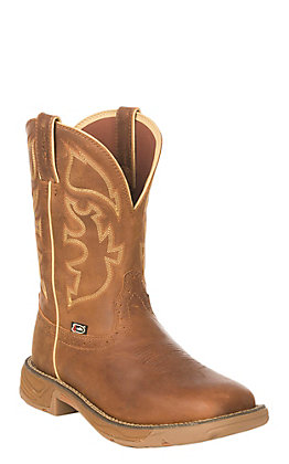 Justin Men's Rush Stampede Rustic Tan Waterproof Square Steel Toe Work Boot
