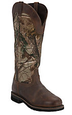 Justin Stampede Men's Rugged Tan w/ Real Tree Camo Top Composite Toe Snake Proof Boots