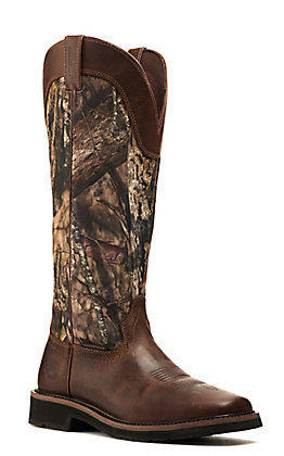 Justin Men's Shrublands Stampede Rugged Tan and Mossy Oak Camo Waterproof Wide Square Toe Snake Boot