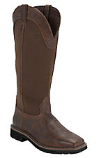Justin Stampede Men's Rugged Tan w/ Brown Nylon Top Square Toe Snake Proof Boots