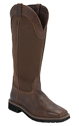 Justin Fielder Brown Men's Rugged Brown Square Soft Toe Snake Boots