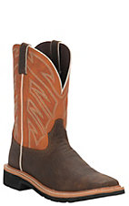 Justin Original Workboots Men's Chestnut and Orange Stampede Steel Square Toe Work Boot