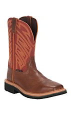 Justin Stampede Men's Tan Premium with Burgundy Top Square Steel Toe Work Boots