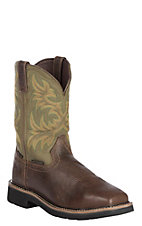 Justin Men's Stampede Dark Waxy Brown Cowhide Western Steel Toe Work Boot