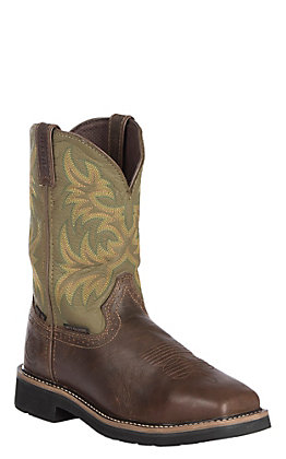 Justin Men's Met Guard Stampede Dark Waxy Brown Cowhide Western Steel Toe Work Boot