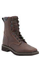 Justin Stampede Mens 8in Rustic Barnwood Square Toe Lacer Work Boots