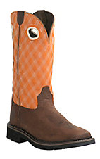 Justin Original Workboots Stampede Men's Rustic Barnwood w/ Flame Orange Square Toe Western Work Boot