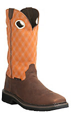 Justin Original Workboots Stampede Men's Rustic Barnwood w/ Flame Orange Composite Square Toe Western Work Boot