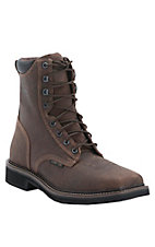 Justin Stampede Mens 8in Rustic Barnwood Composite Square Toe Lacer Work Boots