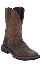 Justin Hybred Men's Rugged Tan Square Toe Western Work Boot