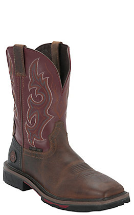 Justin Hybred Joist Men's Tan and Red Square Composite Toe Work Boots