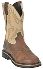 Justin Men's Waxy Brown w/ Ivory Top Stampede Collection Western Work Boot