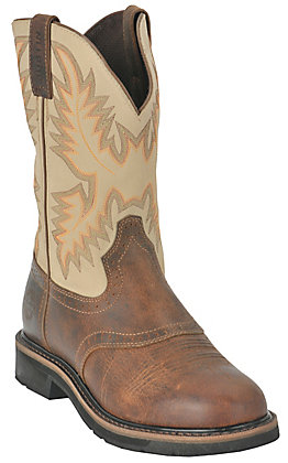 Justin Men's Waxy Brown with Ivory Top Stampede Collection Western Work Boot