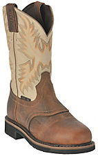 Justin Men's Waxy Brown w/ Ivory Top Stampede Collection Steel Toe Western Work Boot