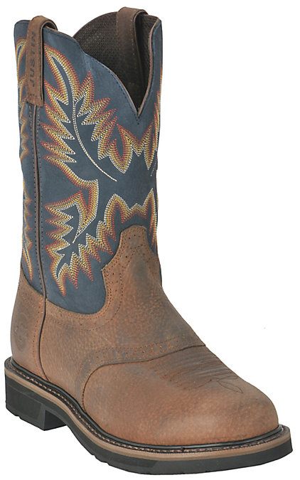 285740637d2 Justin Superintendent Men's Brown and Blue Round Soft Toe Work Boots