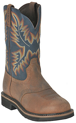 Justin Men's Superintendent Stampede Waxy Brown and Ivory Round Toe Work Boot