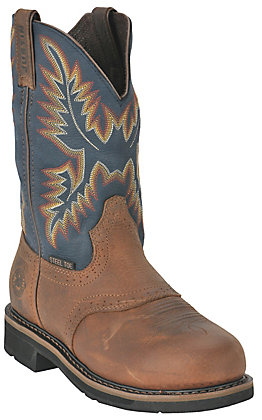Justin Men's Copper with Blue Top Stampede Collection Western Steel Toe Work Boot