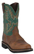 Justin Men's Rugged Tan w/ Green Top Stampede Collection Western Work Boot