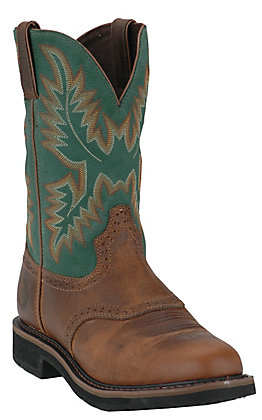 Justin Men's Rugged Tan with Green Top Stampede Collection Western Work Boot
