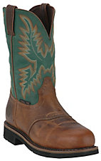 Justin Men's Rugged Tan w/ Green Top Stampede Collection Steel Toe Western Work Boot
