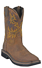 Justin Original Workboots Mens Rugged Brown Square Toe Stampede Work Western Boot