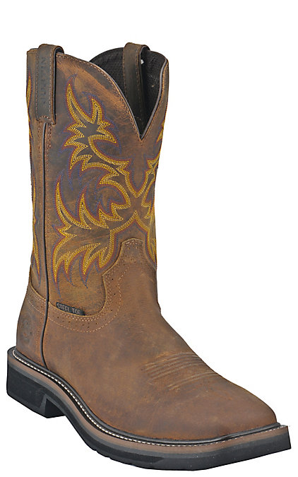e5278aa8c0b Justin Driller Men's Golden Brown Square Steel Toe Work Boots