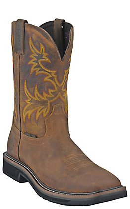 Justin Driller Men's Golden Brown Square Steel Toe Work Boots