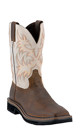 Justin Original Workboots Mens Brown / Ivory Square Toe Stampede Work Western Boots