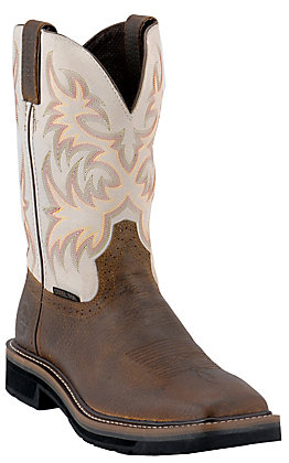 Justin Men's Driller Stampede Rich Brown and Ivory Square Steel Toe Work Boot