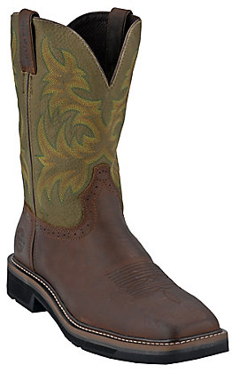 Justin Original Workboots Mens Brown / Green Square Toe Stampede Work Western Boot