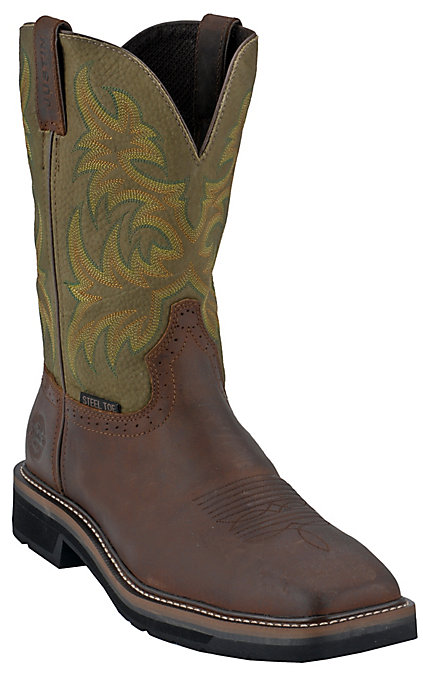 6bf3ba02856 Justin Driller Men's Brown and Green Square Steel Toe Work Boots