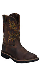 Justin Original Workboots Stampede Mens Rugged Brown Square Toe Western Work Boot
