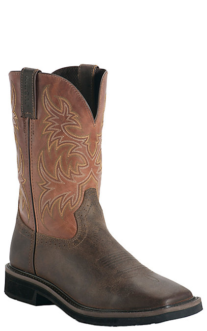 f345843e187 Justin Original Workboots Stampede Men's Rugged Tan with Square Composite  Toe Work Boot