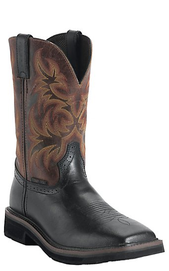 Justin Original Work Boots Stampede Men's Black Oiled Square Toe ...