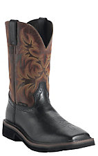 Justin Original Work Boots Stampede Men's Black Oiled Square Toe Work Boot