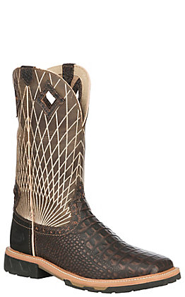 Justin Original Work Boots Men's Derrickman Chocolate Crocodile Print Square Toe Work Boots