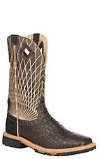 Justin Original Work Boots Men's Chocolate Crocodile Print Square Toe Work Boots