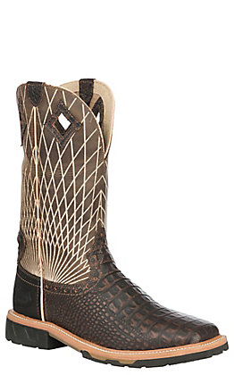 Justin Derrickman Men's Chocolate Croc Print Square Composite Toe Work Boots