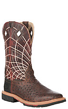 Justin Original Work Boots Men's Rust Ostrich Print Square Toe Work Boots