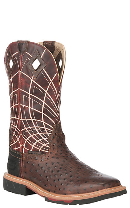 b79212e3cf5 Justin Derrickman Men's Rust Ostrich Print and Burgundy Web Waterproof  Square Composite Toe Work Boots