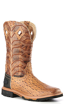 Justin Men's Hybred Derrickman Tan Crocodile Print and Caramel Waterproof Square Composite Toe Work Boot