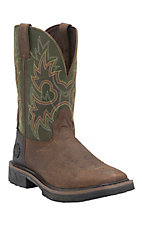 Justin Hybred Men's Rustic Barnwood w/ Charcoal Green Composite Square Toe Western Work Boot