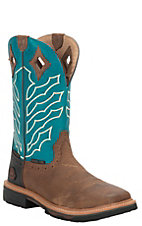 Justin Stampede Men's Peanut Wyoming with Turquoise Top Hybred Waterproof Square Steel Toe Work Boots