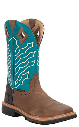 Justin Men's Hybred Derrickman Peanut Brown and Turquoise Waterproof Square Steel Toe Work Boot